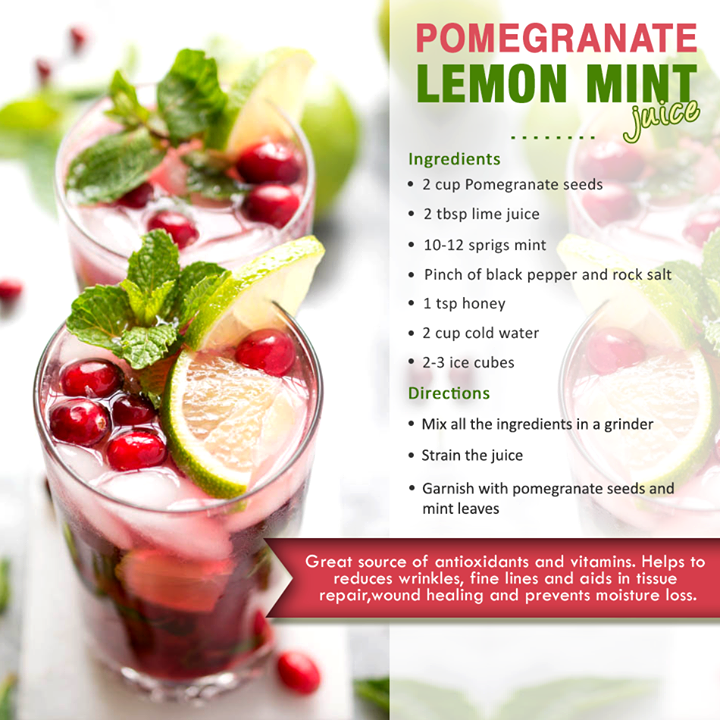 pomegranate lemon mint smoothies benefits of healthy juices and recipes