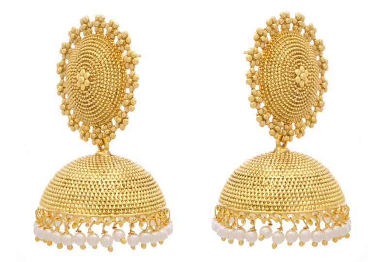 Golden Jhumkas Bengali Dressing Lifestyle