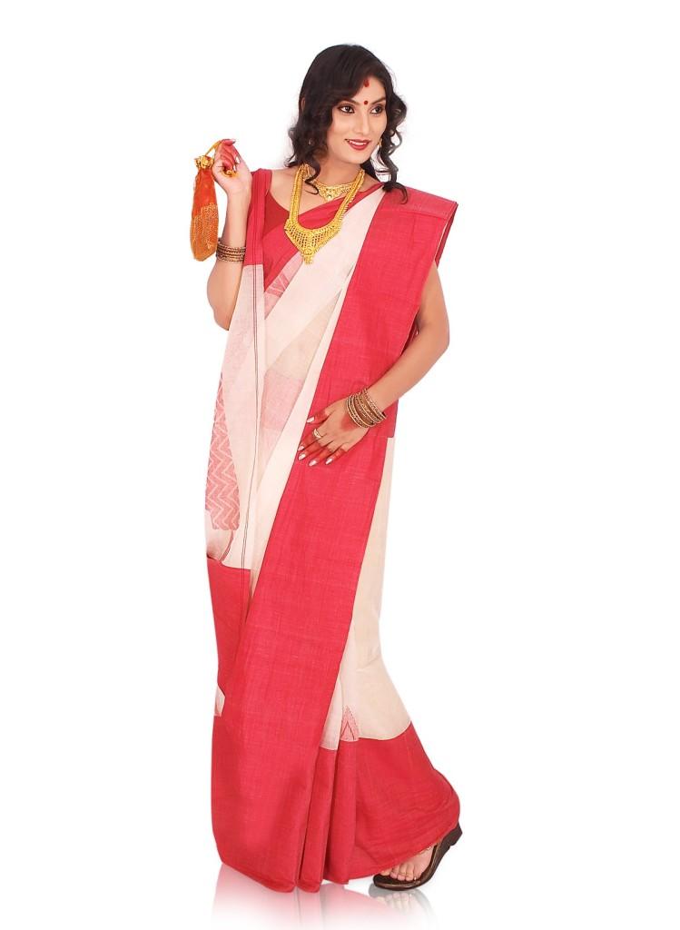 White Saree with Red Border Bengali Dressing Lifestyle