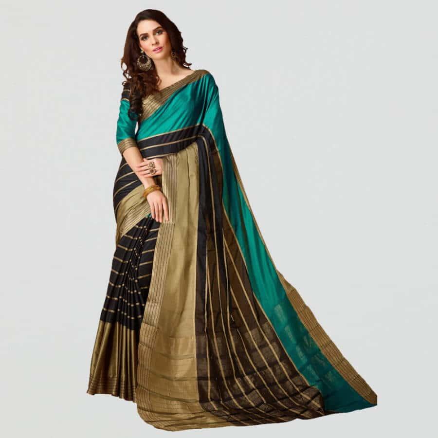 cotton silk multicolor jacquard kanjivaram saree