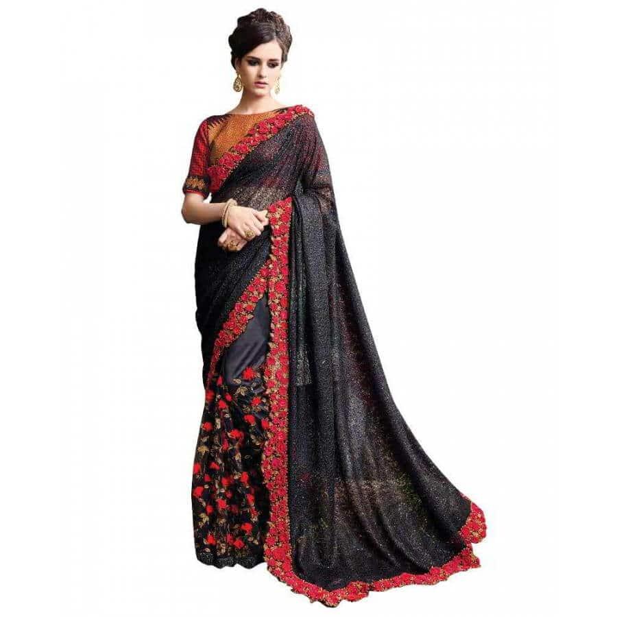 viva n diva net black embroidered designer saree