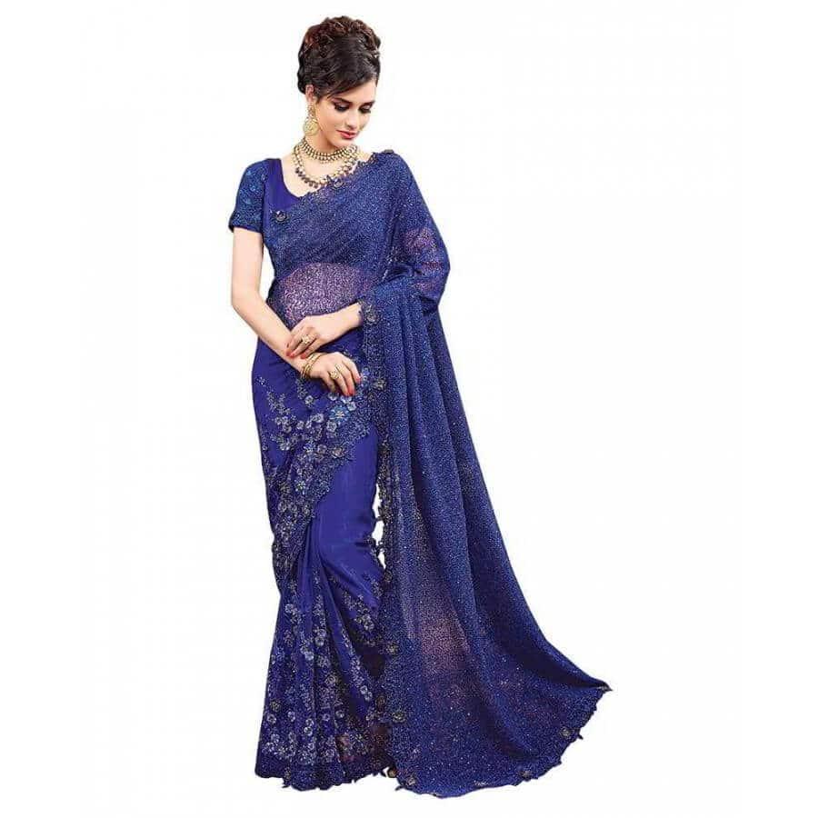 viva n diva net blue embroidered designer saree