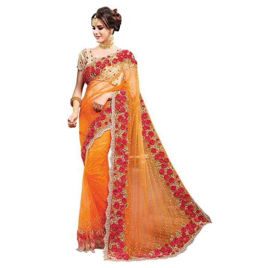 viva n diva net orange embroidered designer saree
