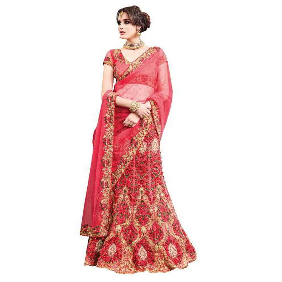 viva n diva net peach embroidered lehenga style saree