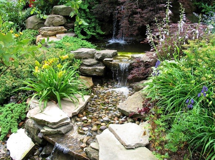 pond water features waterfalls