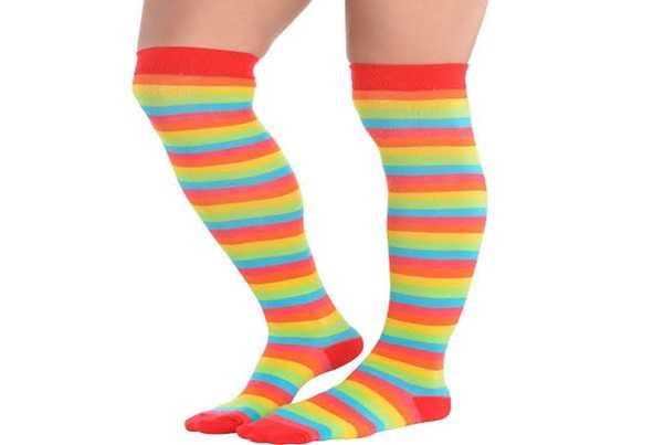 multi colored striped socks