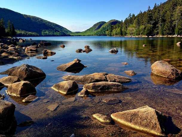 Image shows Landscape and scenic of mountains and lake at Acadia National Park, Maine.