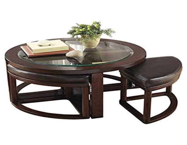 coffee table with a pair of stools
