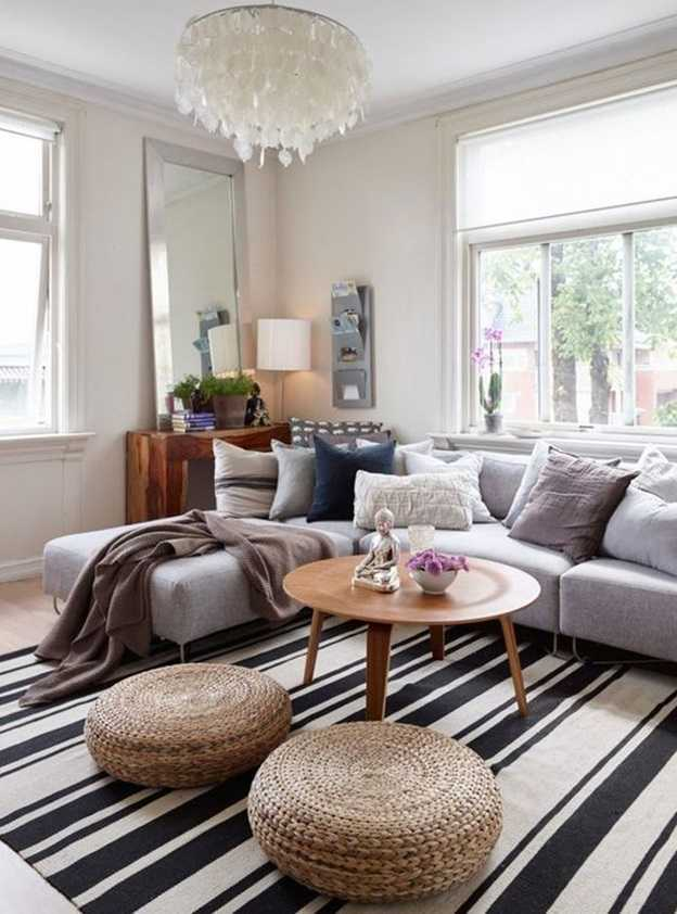 pouf along with your coffee table