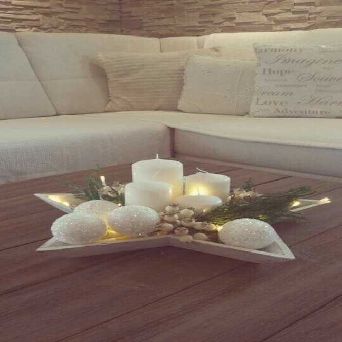 shaped tray on the coffee table