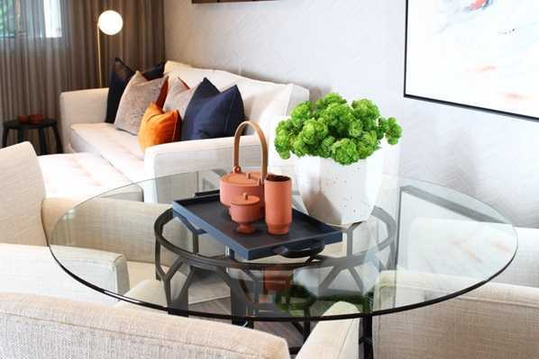 terracotta items on coffee table