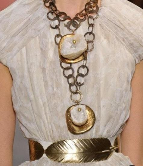 chunky chain and leaf-shaped belt