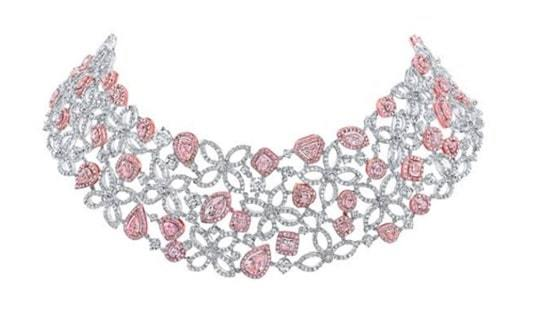 pink and white diamond necklace