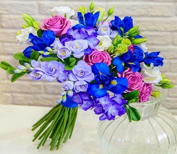 blue iris flowers pot