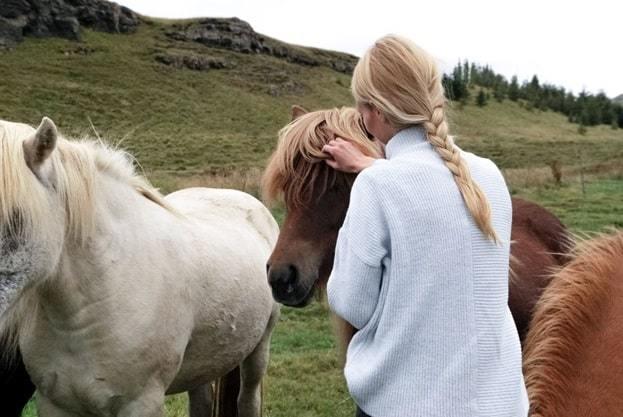 woman on farm cares horses