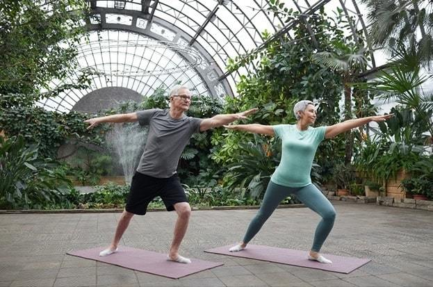 yoga pose on mat