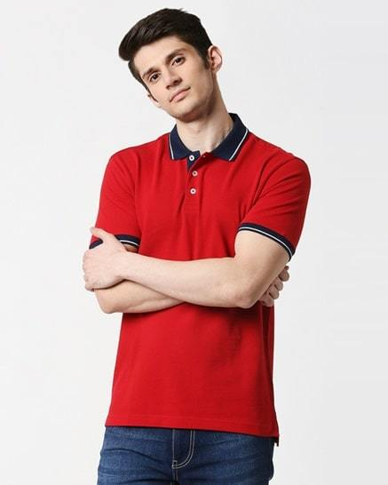 chili pepper half sleeve tipping polo men