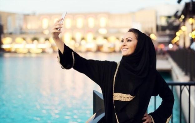wearing abaya