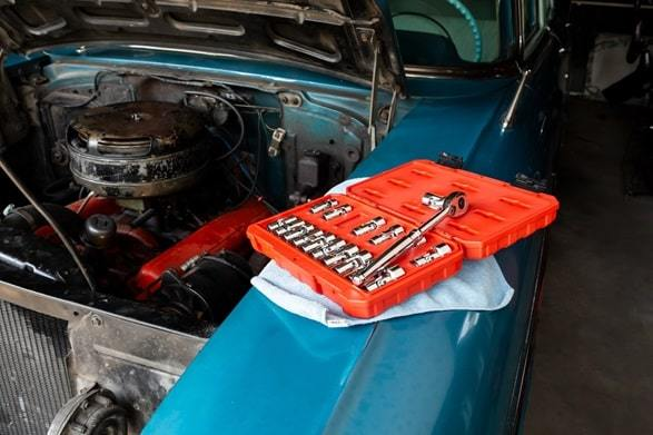 open car bonnet with tool box