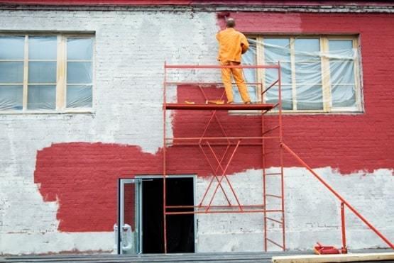facade paint on brick