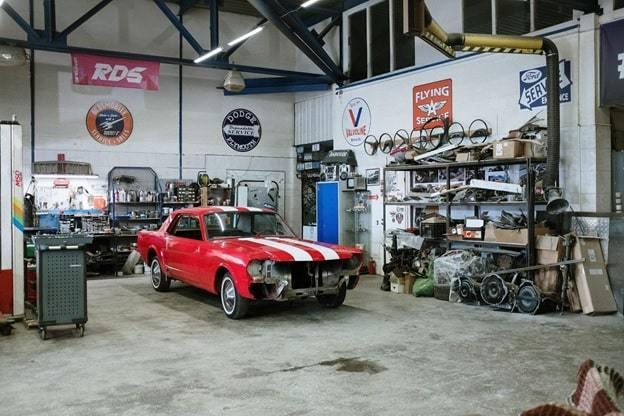a car in the garage